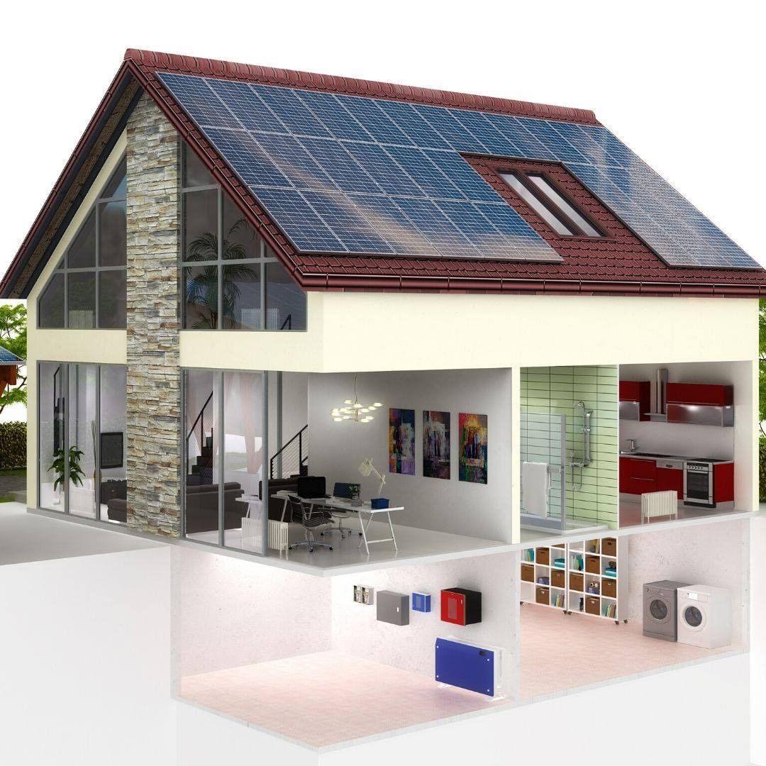 Plano de casa 3D con 3 niveles