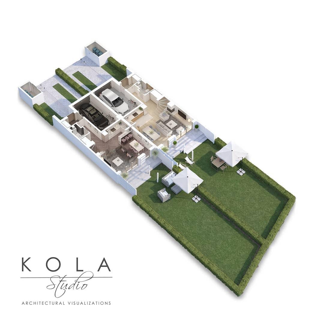 Plano de casa 3D con espacios verdes