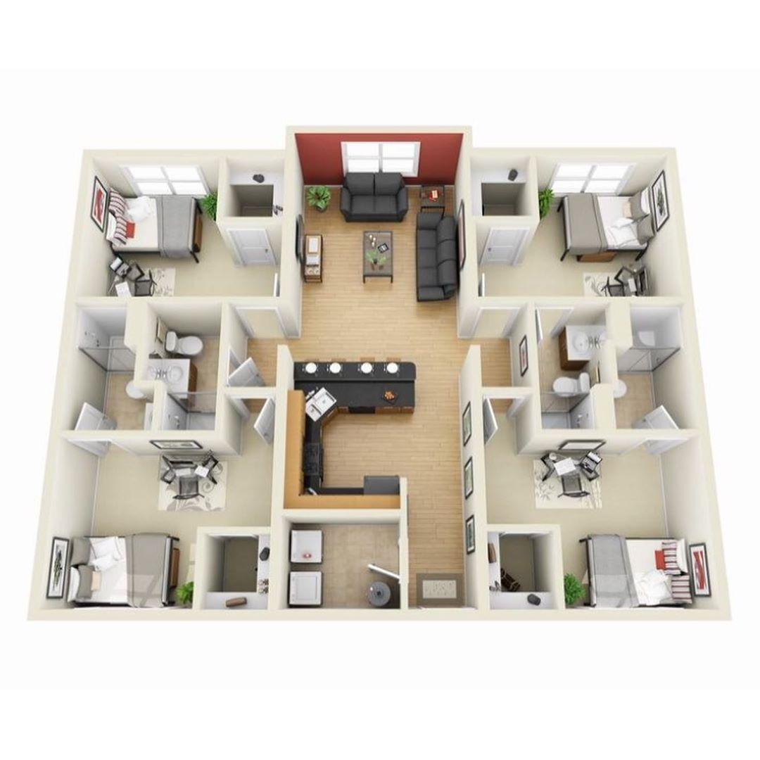 Plano de casa 3D familiar con 4 habitaciones
