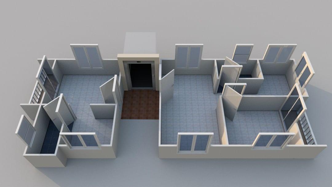 Plano de casa 3D sin habitaciones definidas