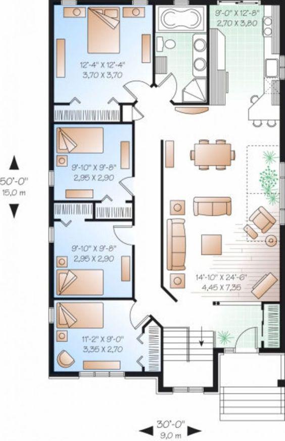 Plano de casa con 4 habitaciones una al lado de la otra