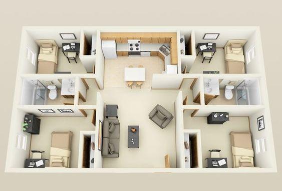 Plano de casa con 4 recámaras en cada punta de la casa