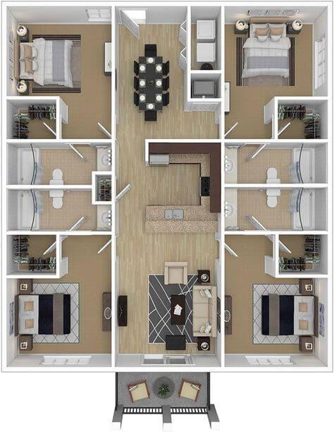 Plano de casa con 4 recámaras y baños