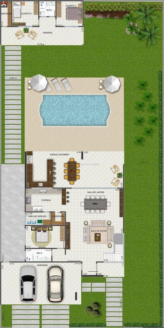 Plano de casa con alberca y casa de huéspedes