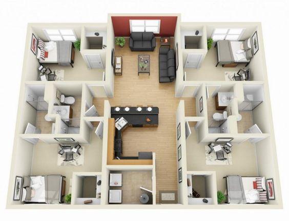 Plano de casa con sala de estar al medio con 4 habitaciones