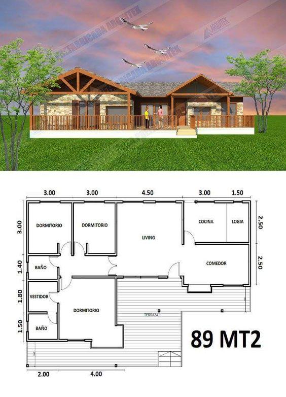 Plano de casa de campo con deck de madera