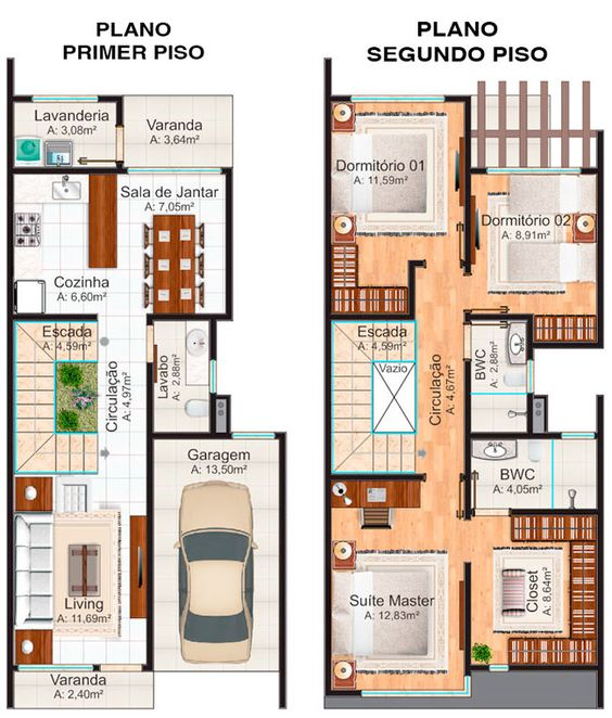 Plano de casa de dos pisos con 3 baños y closet walk in