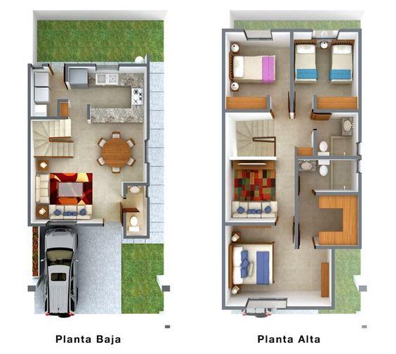 Plano de casa de dos pisos con 3 habitaciones y clóset walk in