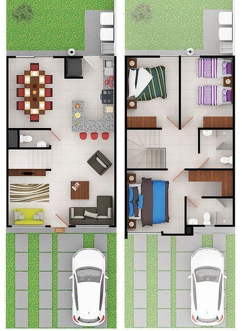 Plano de casa de dos pisos con 3 habitaciones