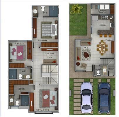 Plano de casa de dos pisos con cochera doble y 3 habitaciones
