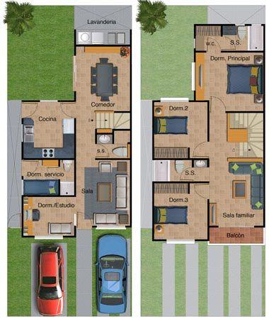 Plano de casa de dos pisos con sala familiar