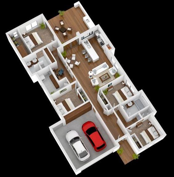 Plano de casa grande con áreas amplias