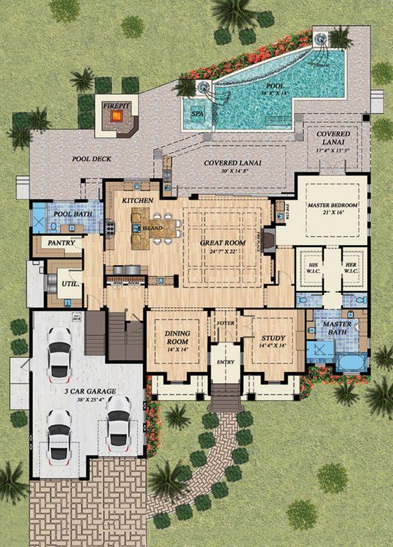 Plano de casa grande con cochera triple y áreas verdes