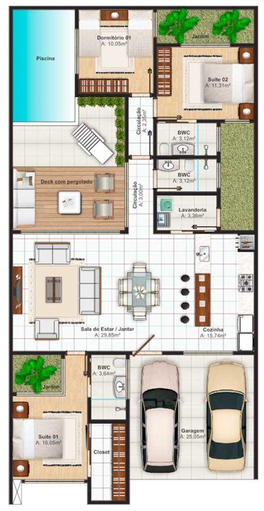 Plano de casa grande con patio trasero amplio