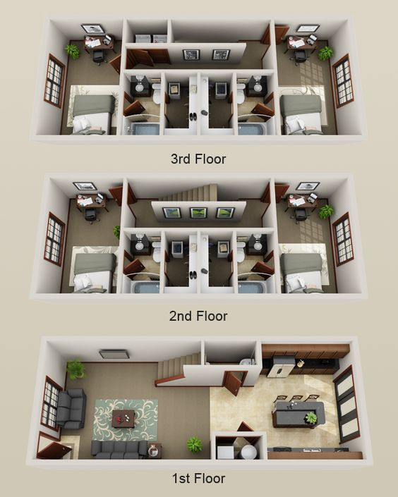 Plano de casa grande de 3 pisos con baños individuales