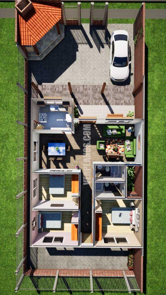 Plano de casa gratis larga con 3 habitaciones