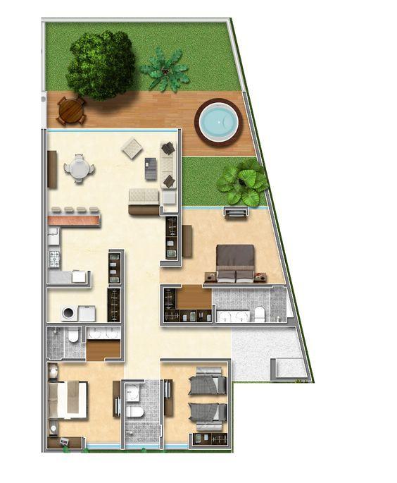 Plano de casa irregular con patio trasero grande