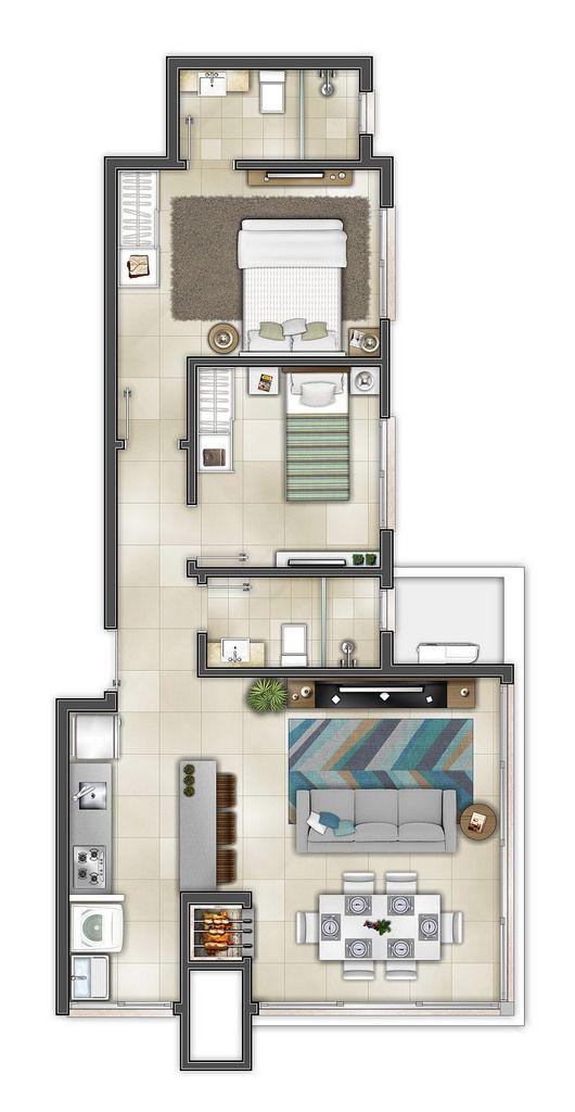 Plano de casa larga con 2 habitaciones