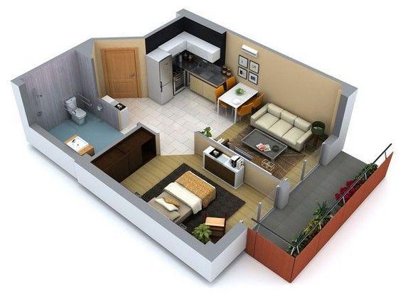 Plano de casa pequeña con una habitación y balcón