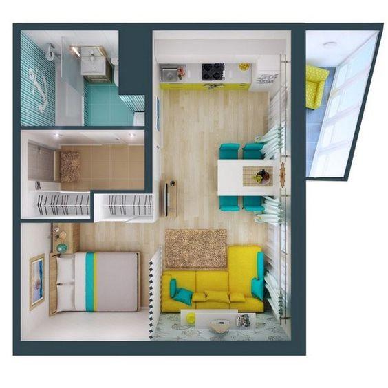 Plano de casa pequeña cuadrada