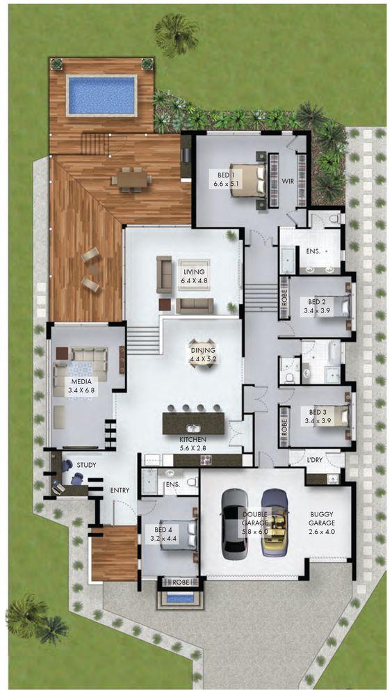 Plano de casa residencial con cuatro recámaras y alberca
