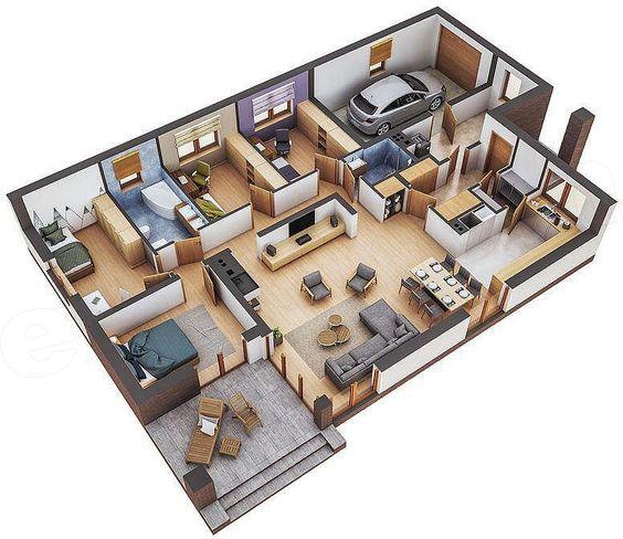 Plano de casa residencial con estudios