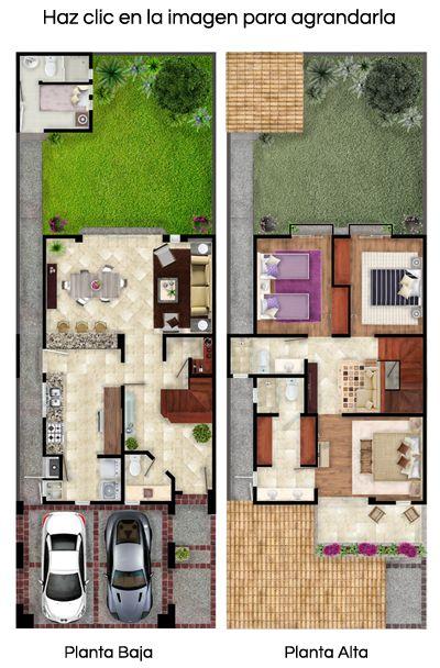 Plano de casa residencial de dos plantas