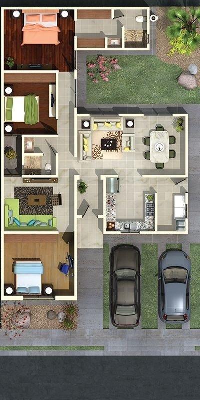 Plano de casa residencial sencilla con 3 habitaciones