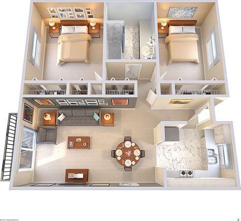 Plano de casa sencilla con balcón y 2 habitaciones