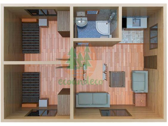 Plano de departamento pequeño con 2 habitaciones
