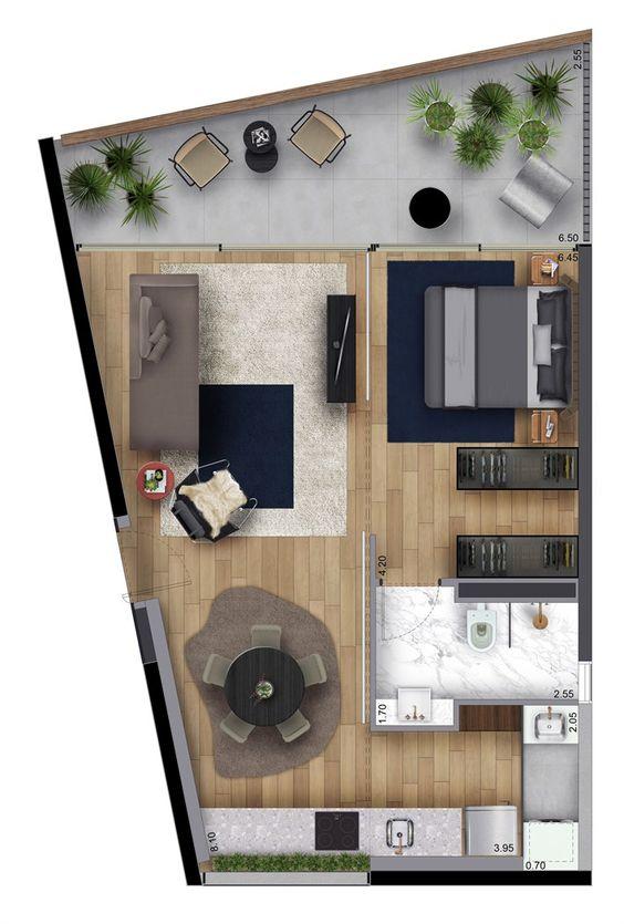 Plano de loft sencillo con terraza
