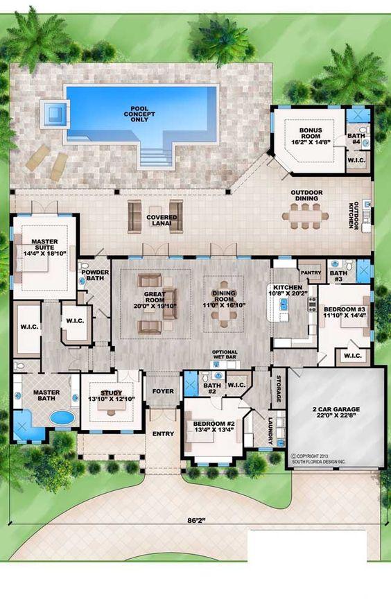 Plano de residencial con alberca