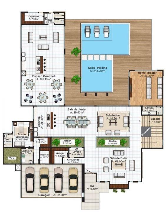 Residencial con cochera para 4 autos y piscina