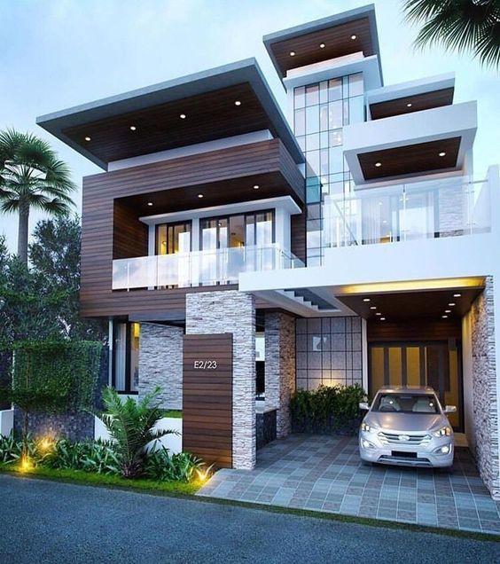 Residencial con fachada de varios niveles