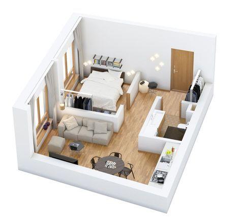 1 Habitación para plano de casa individual