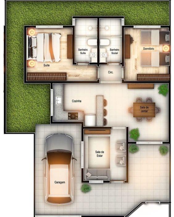 2 Dormitorios para plano de casa