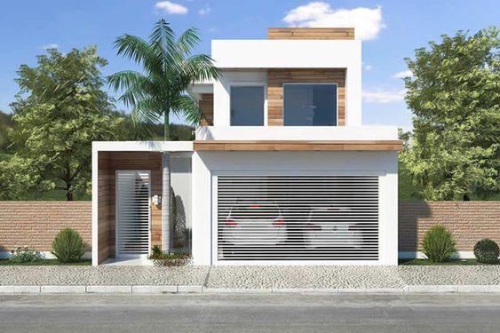 Casa blanca con madera para fachada moderna de dos pisos