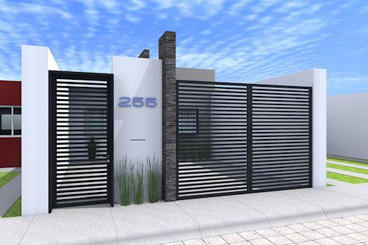 Casa con cochera cuadrada para fachada