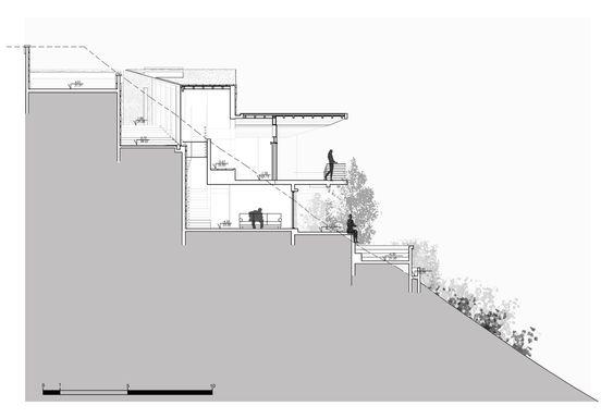 Casa con terraza lujosa con plano de desnivel