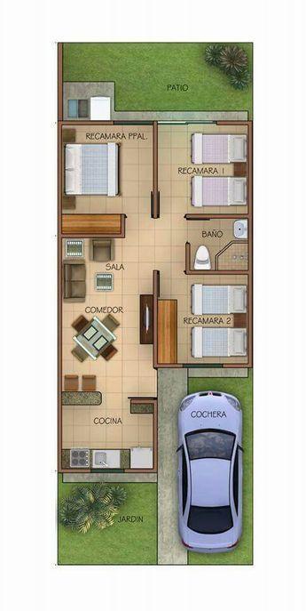 Casa de una planta sencilla y larga