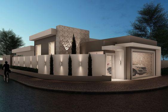 Casa elegante para fachadas de casa en esquina