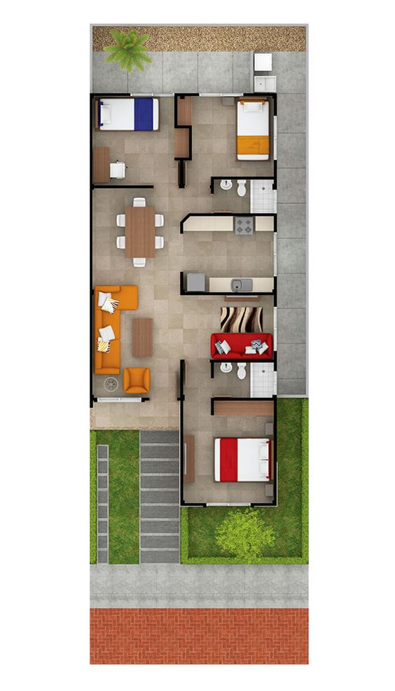 Casa larga para planos de casas de infonavit