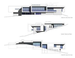 Casa lujosa con plano sobre desnivel