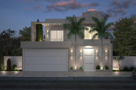 Casa moderna de dos pisos en tono claro