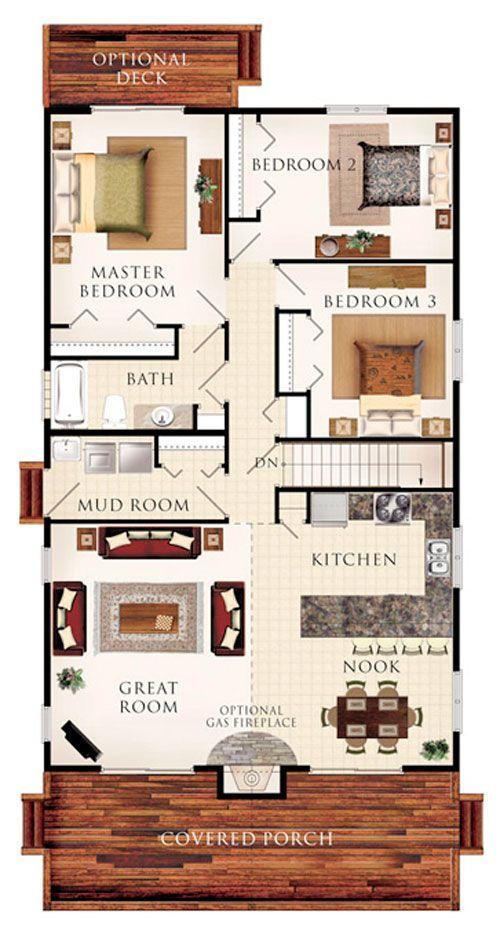 Casa rústica con porche amplio