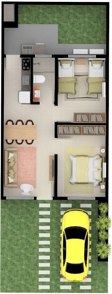 Casa sencilla de plano tipo infonavit