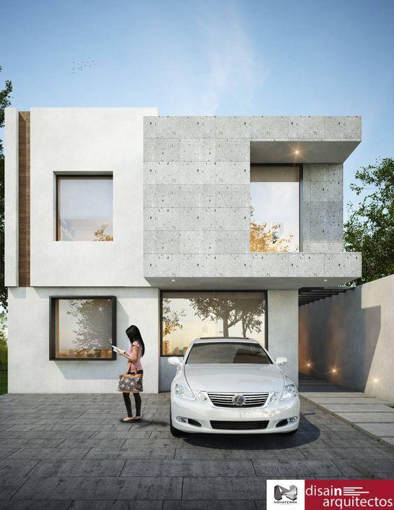 Concreto y ventanales para fachada sencilla