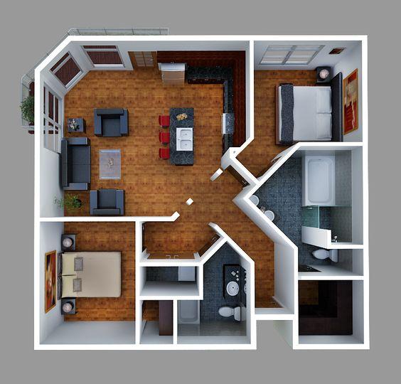 Departamento con 2 habitaciones y sala de estar amplia