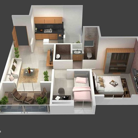 Departamento con plano de interior pequeño moderno