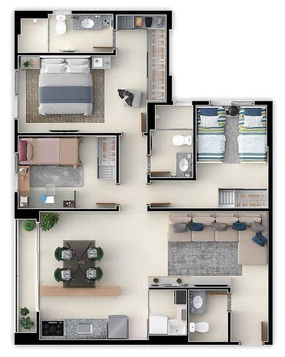 Departamento con plano interior amplio y balcón